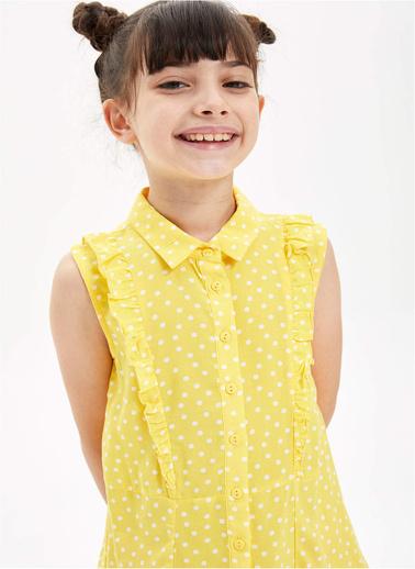 DeFacto Kız Çocuk Puantiye Desenli Gömlek Yaka Kolsuz Elbise Sarı